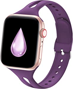 YAXIN Compatible with Apple Watch Bands 38mm 40mm 42mm 44mm, iWatch Bands Women Men Slim Thin Narrow Silicone Sport Bands Replacement Wristbands for Apple Watch SE, Series 6 5 4 3 2 1, Purple