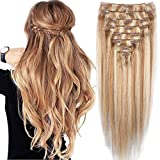 8Pcs Two Tone Ombre Double Weft Remy Extensions 100% Real Human Hair Extension