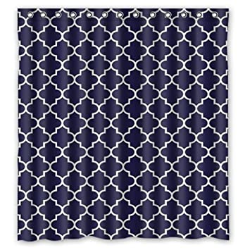 Popular Dark Blue White Moroccan Trellis Bathroom Shower Curtains Polyester Fabric Waterproof 66quot