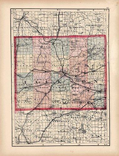 Jackson Calhoun County MI Antique Map Walling 1873 Original Michigan Decor History Gift Ideas
