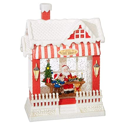 4b16604e871d5 Amazon.com  RAZ Imports Santa s Toy Shop Lighted Water House 10 Inch  Christmas Snow Globe with Swirling Glitter  Home   Kitchen