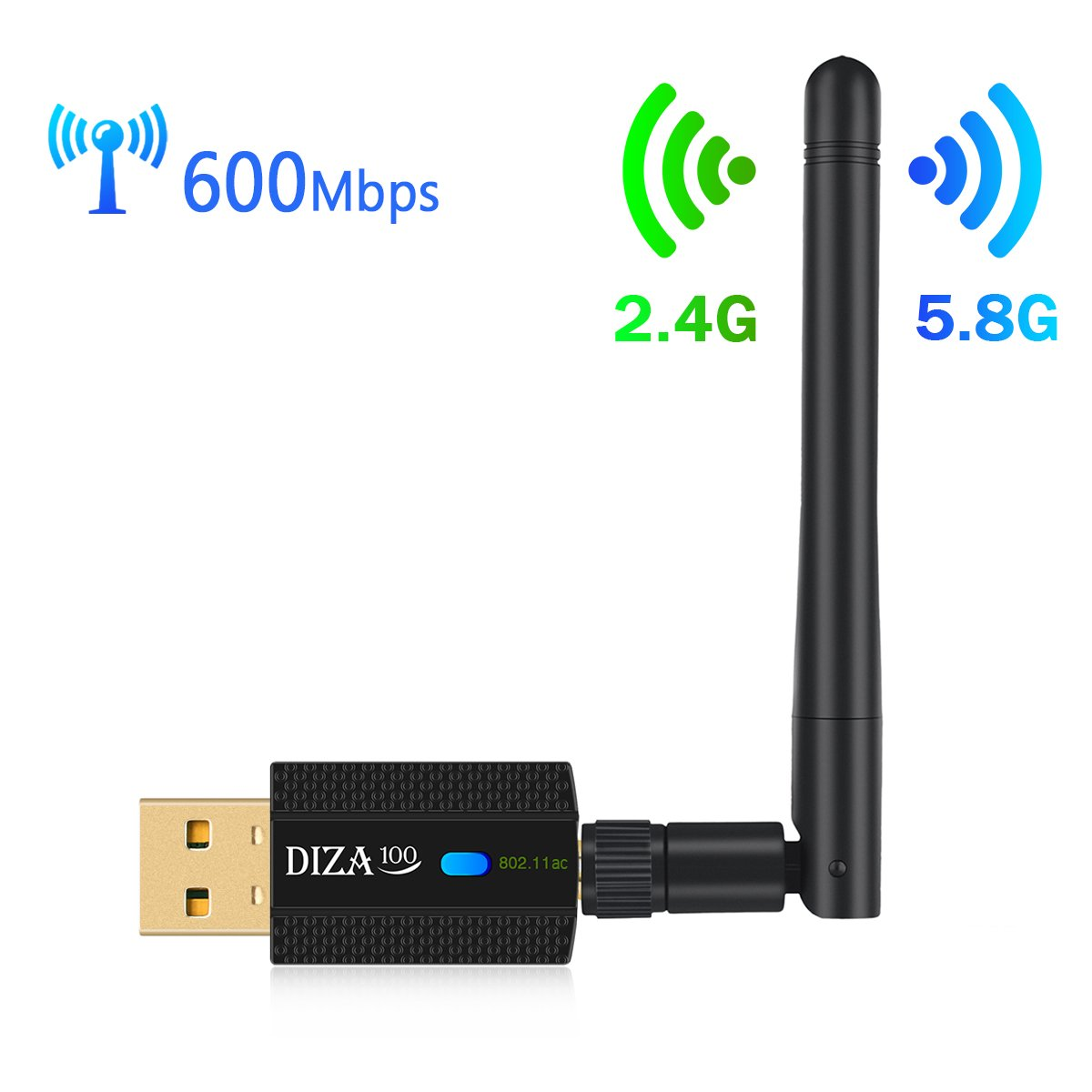Wireless USB WiFi Adapter AC 600Mbps Dual Band 2.4G/150Mbps+5.8G/433Mbps WiFi Dongle with High-gain Antenna Complies with 802.11 b/g/n/ac Standard Supports Windows & Mac OS X System by DIZA100