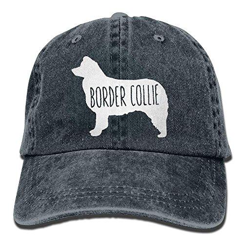 nuohaoshangmao Adult Denim Baseball Cap Border Collie