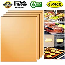 Grill Mat Non-Stick BBQ Grill & Baking Mats Copper Barbecue Mats (Set of 4)-Heavy Duty 600 Degree-Reusable and Easy to Clean- Works on Gas, Charcoal, Electric Grills,Oven,Microwave Oven