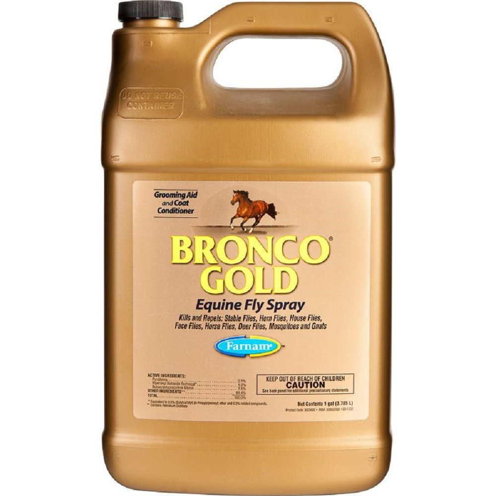 Bronco Gold Farnam Gallon Equine Fly Spray Kills and Repels Ready to Use Oil Based