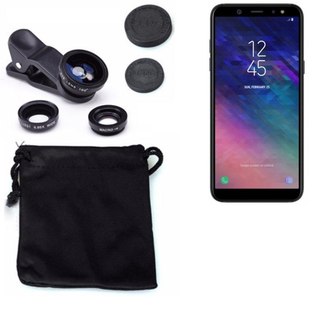 Cam/éra Objectifs Professionnel Noir 1x Macro Grand Angle K-S-Trade 3in1 pour Samsung Galaxy A6 180/° Objectifs Smartphone Lentilles Fisheye 2018 0.67x