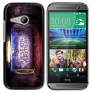 QCASE / HTC ONE MINI 2 / M8 MINI / mundo pregunta todo creencia vida cotización / Delgado Negro Plástico caso cubierta Shell Armor Funda Case Cover