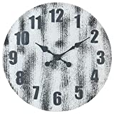 Oldtown Weathered White Gray Solid Pine Wood Barn Style Farmhouse Rustic Vintage Engraved Number Noiseless Big Over-Sized Large Decorative Wall Clock (24-inch)