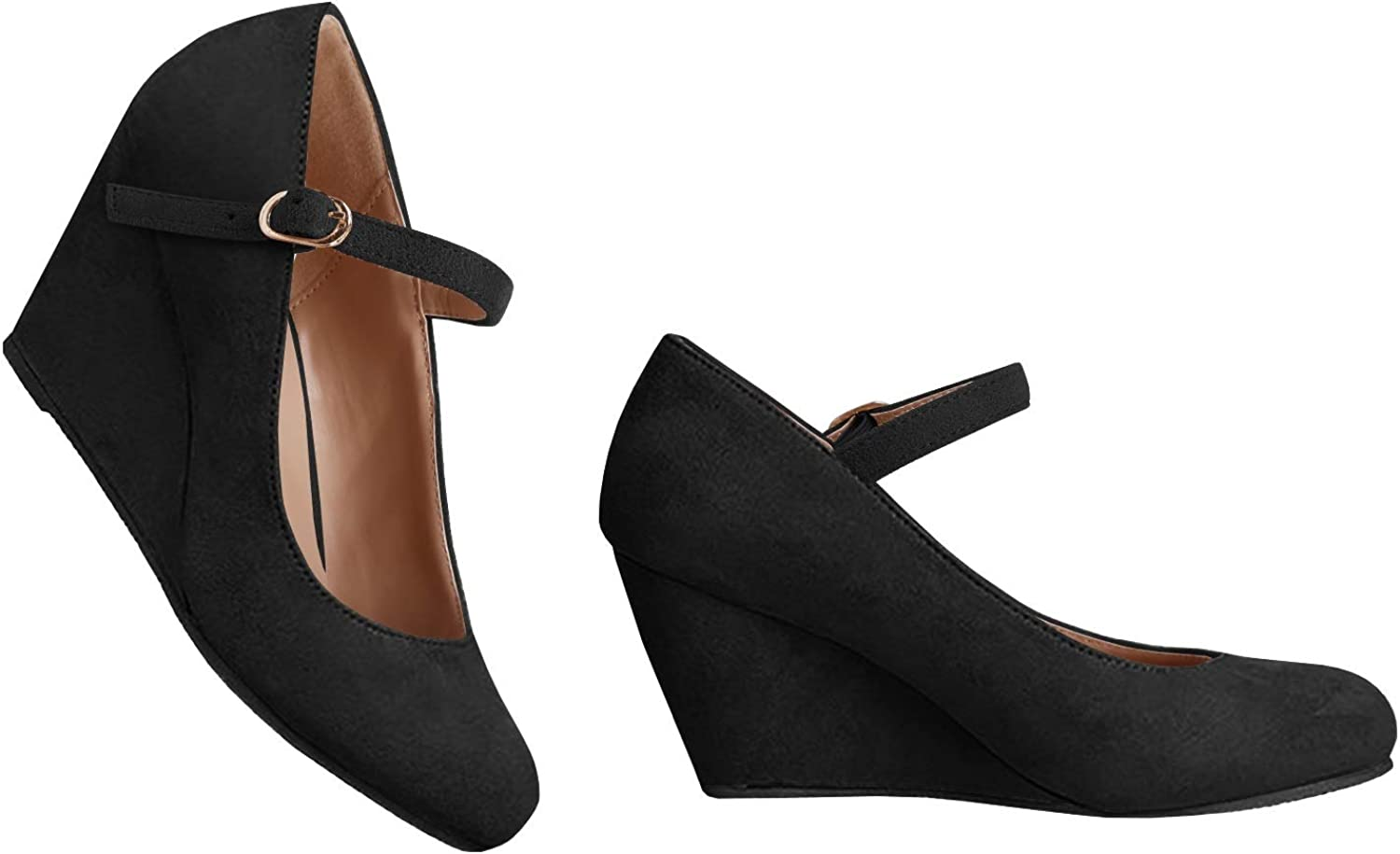 Syktkmx Womens Wedge Heels Pumps Mary