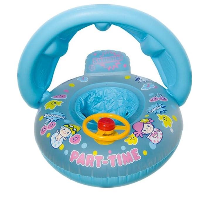 Asiento de piscina hinchable redondo para bebé con protector solar ...