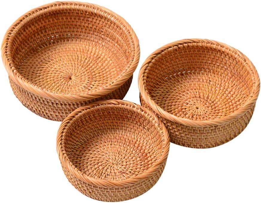 IMIKEYA 3pcs Rattan Woven Fruit Basket Tea Storage Fruit Baskets Vintage Vegetable Bread Basket Snack Tray Food Serving Basket for Desktop Counter Showcase