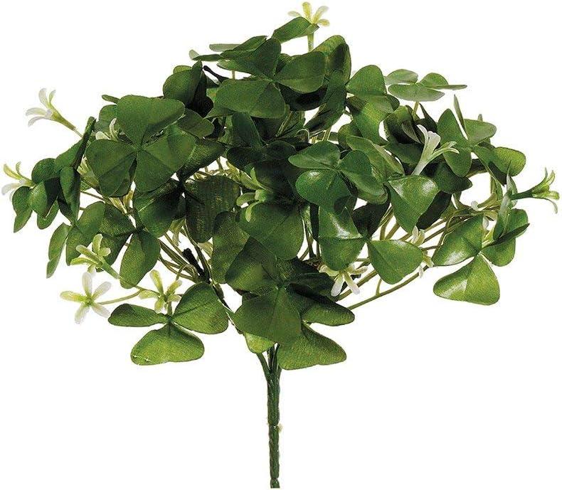 Artificial Clover Flower Bush in White 9 Tall