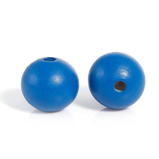 30 unidades ronda ciprés madera perlas azul pálido 20 mm perlas agujero bricolaje madera DIY