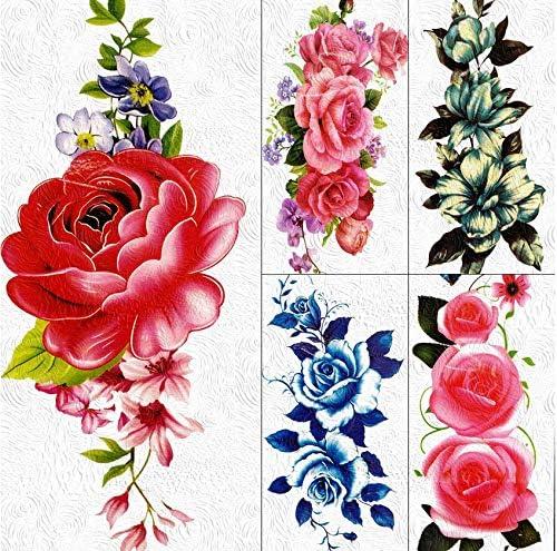 yyyDL tatuajes temporales 3D DIY Gran Rosa Roja Tatuajes ...