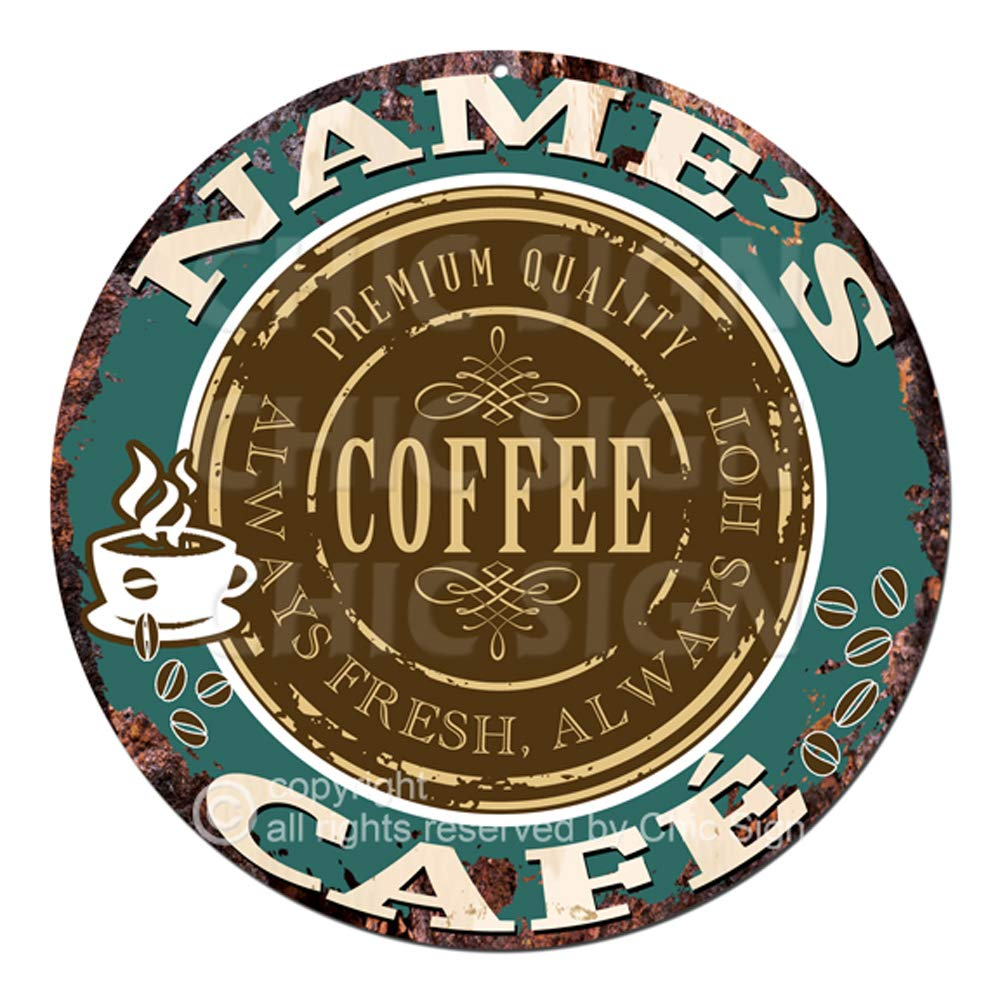 Any Name's Any Text Coffee Cafe Custom Personalized Chic Tin Sign Rustic Shabby Vintage Style Retro Kitchen Bar Pub Coffee Shop Man cave Decor Mother's Day Father's Day Housewarming Gift Ideas by Generic