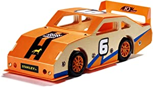 Stanley Jr Custom Orange Race Car - DIY Model Car Kits for Kids - Easy to Assemble Race Car Building Set - Wood Racecar Kit - Wooden Race Car Crafts - Paint & Decals Included