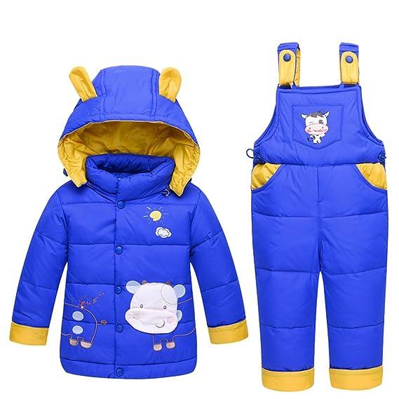 M&A Unisex Capucha Disfraz Vaca Infantiles Traje Invierno Niños 2 pics Para Esquí Nieve Niñas Chaqueta
