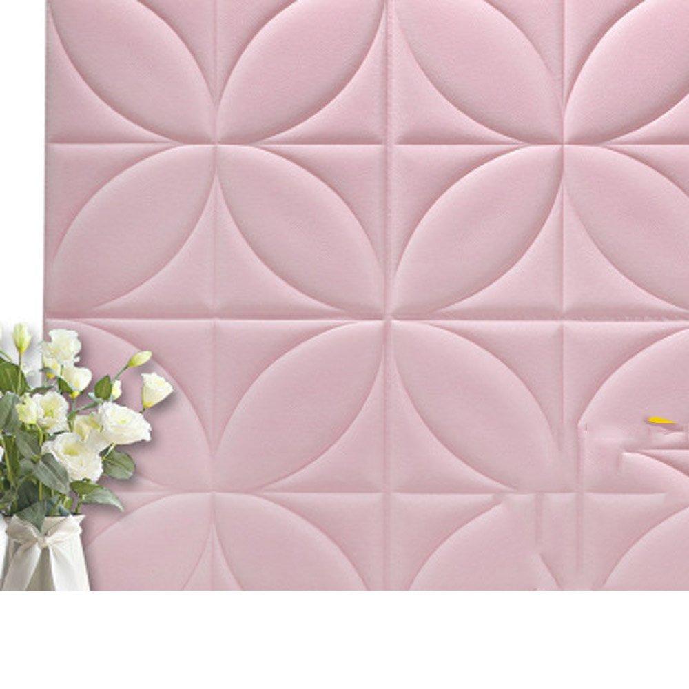 YETUGE 壁紙 防音シート レンガ 壁紙 インテリア シール 70cm×70cm ウォールステッカー 革製 軽量 壁紙シール アクセントクロス ウォールシール はがせる 壁シール B07BSMQVM8 三枚|ピンク ピンク 三枚