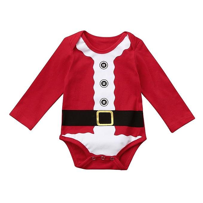 YanHoo Ropa para niños Recién Nacido bebé niño niña Romper Pijamas Navidad Familia Trajes Ropa Vestido