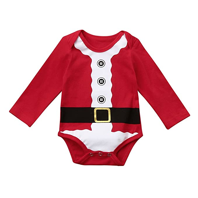YanHoo Ropa para niños Recién Nacido bebé niño niña Romper Pijamas Navidad  Familia Trajes Ropa Vestido navideño Infantil de Manga Larga 19fe5d9cb83