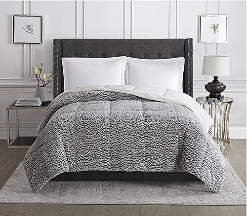 Christian Siriano Faux Fur Comforter (King, Black and White) by Christian Siriano