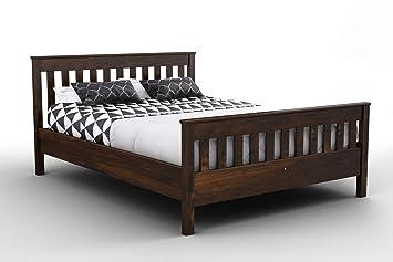 best website aff47 444aa Nodax* Wooden Pine King Size Bed Frame F16 (UK King 150 x 200 cm Walnut  finish)