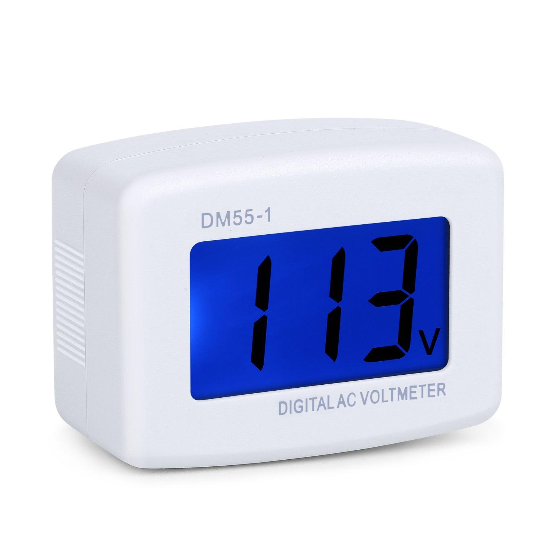 Eversame Flat US Plug AC 80-300V LCD Voltímetro digital Monitor de medición de voltaje, CA 110V 220V Panel de voltaje Línea de alimentación Monitor de prueba de voltios Medidor de calibre para enchufe doméstico en tomacorriente para medir voltaje