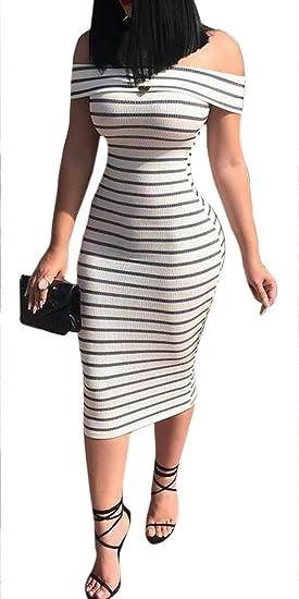 207500dbdf9ab Jotebriyo Women s Off Shoulder Stripe Sexy Bodycon Clubwear Beach Party  Maxi Dress at Amazon Women s Clothing store