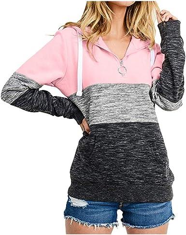 Vectry Camisa Mujer Moda Mujer Suelta Casual Pullover Manga Larga Patchwork Top Sudadera Camisa Otoño Verano Playa Y Fiesta: Amazon.es: Ropa y accesorios