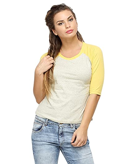 Campus Sutra Women Round Neck Quarter Sleeve T-Shirts Women's T-Shirts at amazon