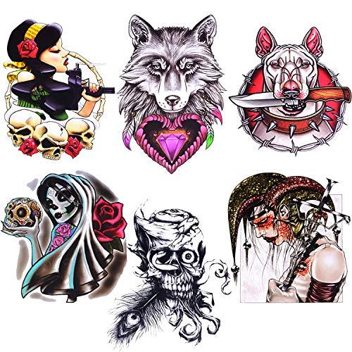 BodyJ4You Large Temporary Tattoo Goth Dark Wolf Sugar