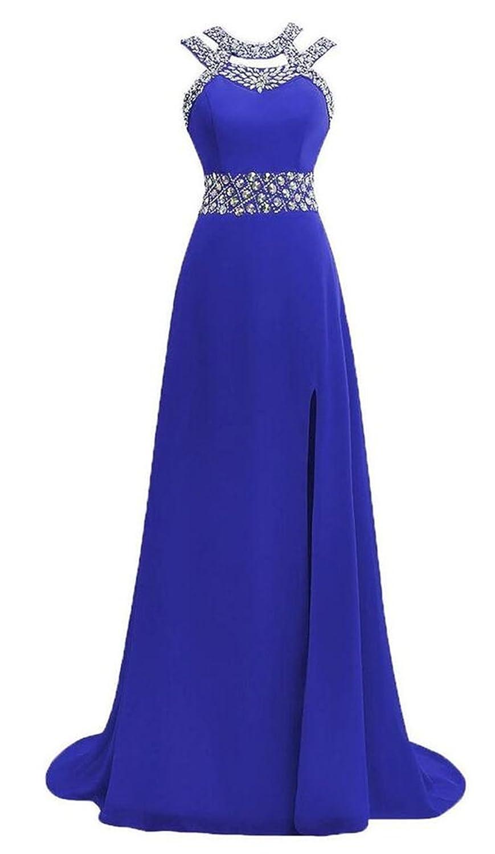 AngelDragon A-Line Rhinestones Embellished Waist Evening Party Prom Dress
