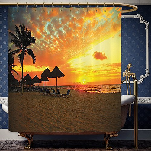 Wanranhome Custom-made shower curtain Seaside Decor Set Sunset Scene at Beach Resort Silhouette Romantic Honeymoon Vacation Photo Print Orange Yellow For Bathroom Decoration 72 x 92 - At Map Sunset Galleria