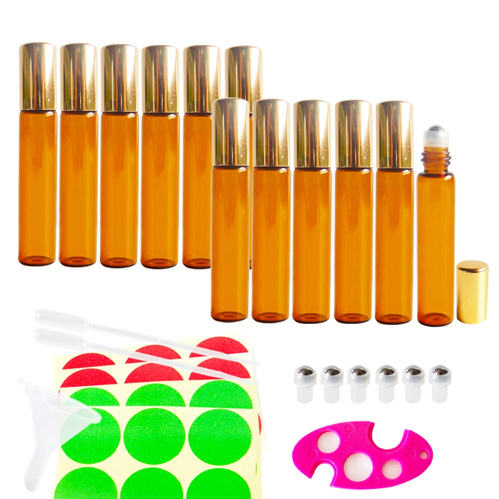12pcs 10ml Empty AMBER Glass Roller Bottle w/ Gold Lid, Refillable Cosmetic Container for Essential Oil Perfume, Extra 0.5ml Dropper, Mini Funnel, Key Opener, 6 Stainless Steel Roll-on Balls, 24 Labels