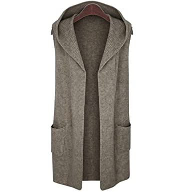 5ce1a69eeb Elfjoy Women s Sleeveless Cardigan Sweater Vest Open Front Hooded Shawl  Draped with Pockets - Brown -