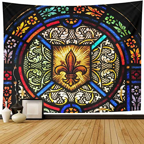 AlliuCoo Tapestry Wall Hanging 80 x 60 Inches Blue Chapel Stained Glass Window Fleur De Lis Symbol Green Church Light Home Wall Decor Tapestries for Bedroom Living Room Dorm