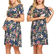 Pasttry Women's Bell Short Sleeves Floral Printed Wrap Maternity Dress For Baby Shower Navy Blue S