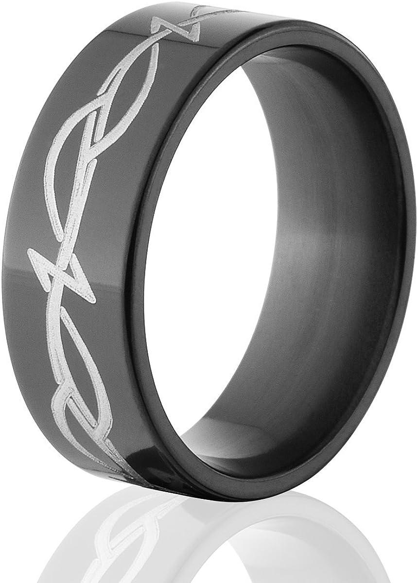 It is a photo of Mens Black Wedding Bands Black Zirconium Wedding Rings Celtic Ring