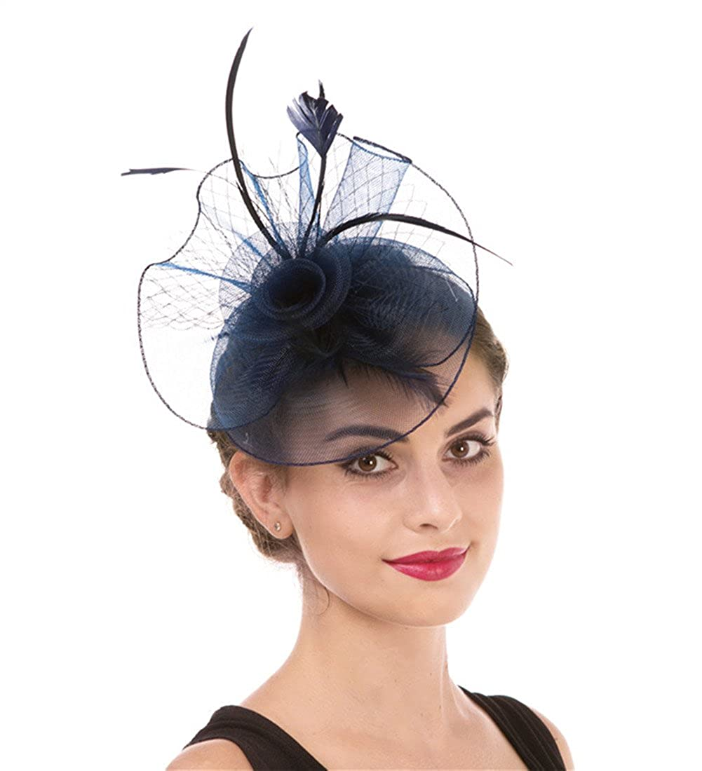 Hj1navy Fascinator Women's Organza Church Kentucky Derby British Bridal Tea Party Wedding Hat Summer Ruffles Cap