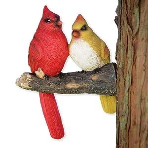 Bits and Pieces - Pair of Cardinals Tree Hugger - Animal and Bird Tree Sculpture Outdoor Décor Garden Statue