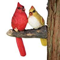 Bits and Pieces - Pair of Cardinals Tree Hugger - Animal and Bird Outdoor Décor Garden Statue