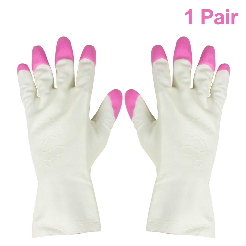 fantastic savings cheap best price HOMIZE Kitchen Household Glove, Dishwashing Waterproof Haft Hand Gloves for  Women, (Pink White)