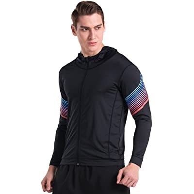 Fight Eagle Men's Long Sleeve Hoodie Slim Fit Lightweight Full Zip Sweatshirt For Running
