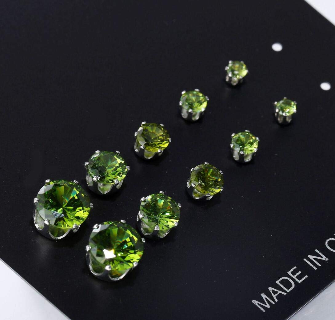 Six-claw fashion wild color zircon earrings,double sex 5 pairs 9 colors (Light green)