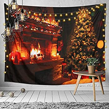 LOMOHOO Christmas Tapestry Xmas Merry Christmas Tree Brick Fireplace Stockings Candles Wall Art Hanging Tapestries for Bedroom Living Room Dorm Blanket (58