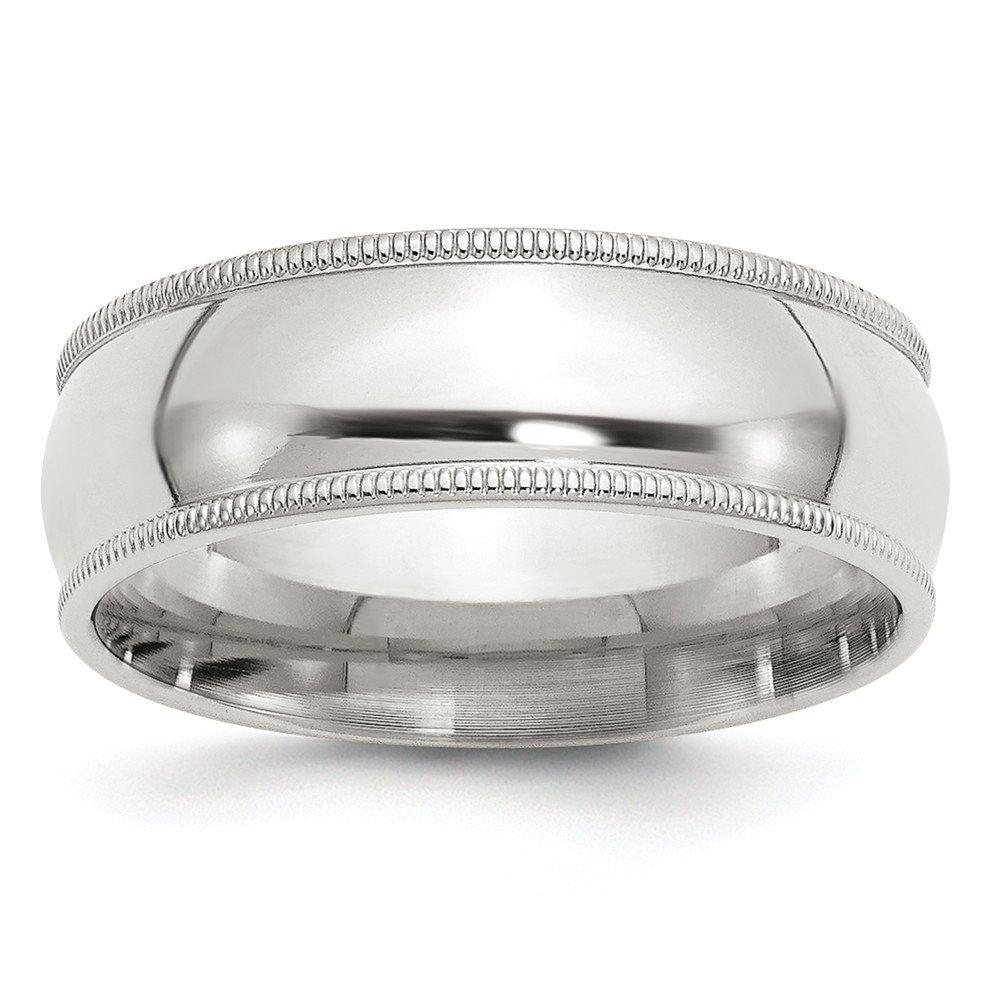 Solid 925 Sterling Silver 7mm Milgrain Comfort Fit Wedding Band