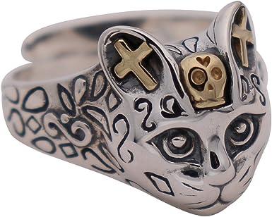 Vintage Sterling Silver Skull Adjustable Ring Size 7