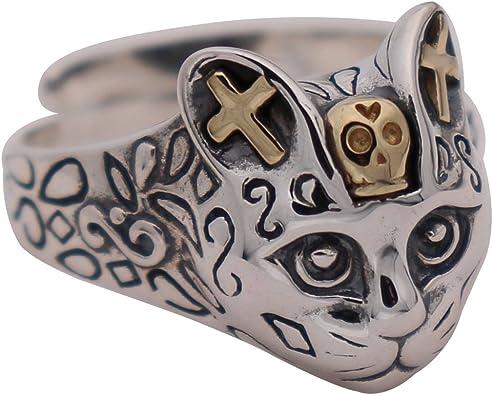 Vintage Real 925 Sterling Silver Biker Sugar Skull Head Ring Jewelry for Men Women