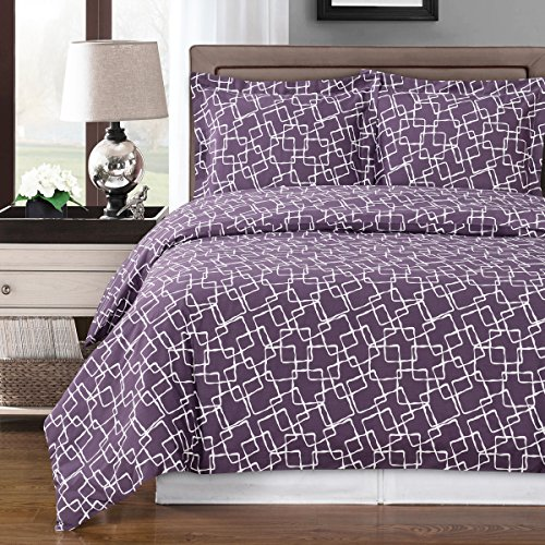 Simply Linens Purple and White Eva 4-Piece King/California King Comforter Cover Set, 100% Cotton 300 TC