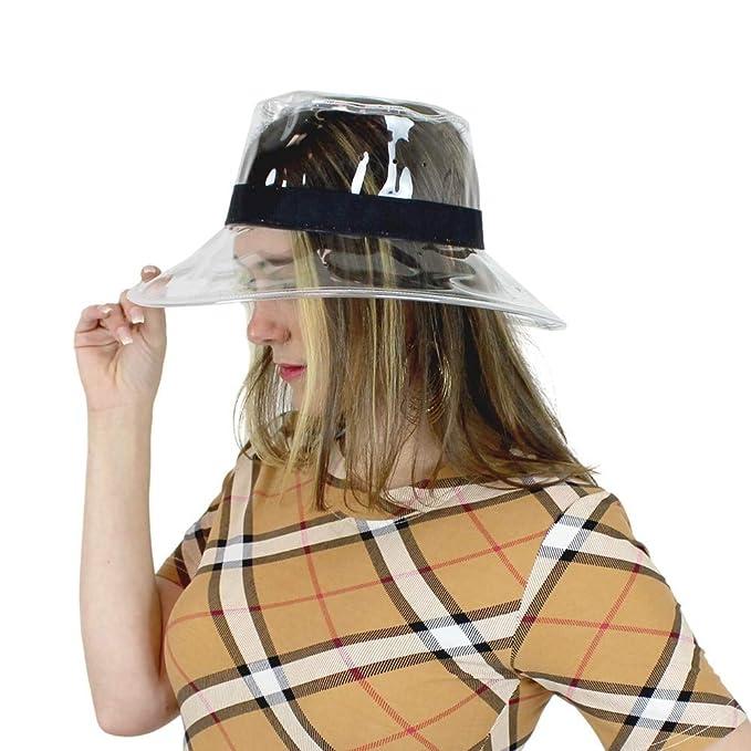 50e018555e71f Clear PVC Bucket Hat Vinyl Rain Hat Designer Style - Black Band at Amazon  Women s Clothing store